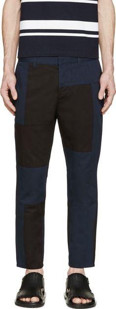 Marni Pantalon noir et bleu marine contrasté