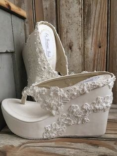 Elegant Destination Beach Wedding Shoe  Hand Beaded ivory beaded lace high wedge flip flop  Destination Bridal Shoe  Pictured in light ivory