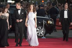 The Duchess wore a lilac Alexander McQueen gown to a British Academy of Film and Television Arts event in Los Angeles on July 10, 2011. Prince William, who is president of BAFTA, delivered remarks at the ceremony, which honored rising British actors. The couple were in California as part of their first North American tour.
