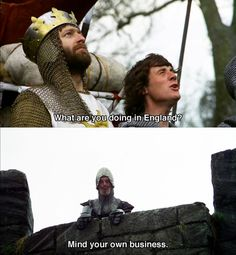 I know that you haven't seen all of Monty Python and The Holy Grail, but I think that you should, 'cause it is funny, in the most stupid of senses