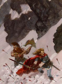 Gotrek and Felix in the Snow Picture  (2d, fantasy, dwarf, book cover, warhammer, ranger, warriors)