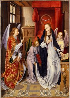 The Annunciation  Hans Memling  (Netherlandish, Seligenstadt, active by 1465–died 1494 Bruges)  Date: 1480–89 Culture: Netherlandish Medium: Oil on panel, transferred to canvas Dimensions: 30 1/8 x 21 1/2 in. (76.5 x 54.6 cm) Classification: Paintings Credit Line: Robert Lehman Collection, 1975 Accession Number: 1975.1.113