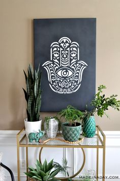 Looking for a unique wall art piece for your home? My Hamsa Palm Mandala Wall Art maybe just what you are looking for! Hamsa Painting, Easy Canvas Painting, Mandala Painting, Stencil Wall Art, Mural Wall Art, Stencil Painting, Wall Paintings, Unique Paintings, Stenciling