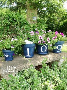 house number flower pots