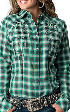 Rock 47™ by Wrangler® Women's Green, Blue and Grey Plaid w/ Rhinestones and Embroidery L/S Western Shirt - Medium $50 | Cavender's