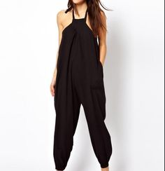 Stylish Black Womens Loose Harem Pants Sleeveless Jumpsuits Rompers Trousers