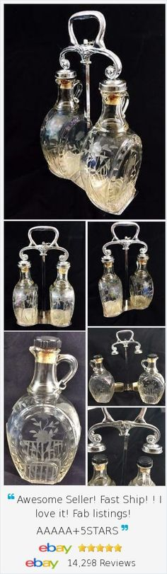 If you enjoy displaying and using vintage Decanters, our #Tantalus chrome set includes 2  Etched Glass Jug Spirit Liquor Bottles with an interesting style handle that raises and lowers and locks.