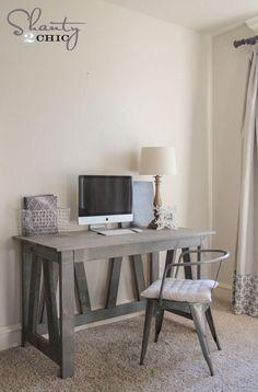 Free Woodworking Plans Rustic Truss Desk - DIY desk plans - only $60 to build