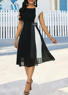Color Block Cap Sleeve Pleated Detail Dress - Fashion dresses Fashion Trends of Winter 2020 Lovely Dresses, Stylish Dresses, Women's Fashion Dresses, Dress Outfits, Casual Dresses, Fall Dresses, Dresses Dresses, Frack, Dress Sewing Patterns