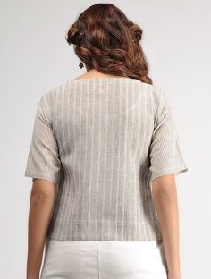 d528d3427a13 Buy White-Brown Striped Organic Cotton Top by Jaypore Online at Jaypore.com  Organic
