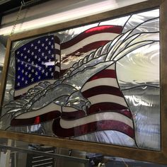 American flag and eagle 34 x 22 in. Crafted in the studios of stained glass at Cathedral Crafts Inc. Stained Glass Studio, Stained Glass Light, Stained Glass Birds, Stained Glass Crafts, Stained Glass Designs, Stained Glass Panels, Stained Glass Patterns, Leaded Glass, Mosaic Glass