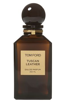Tom Ford Private Blend 'Tuscan Leather' Eau de Parfum Decanter. A chypre blend of notes brings a raw yet reserved sensuality to this original take on a classic leather scent. Saffron, raspberry and thyme open to olibanum and night-blooming jasmine. Leather, black suede and amber wood add an intricate richness. available at #Nordstrom
