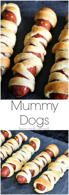 Kids love the classics and these Mummy dogs are a classic Halloween recipe! The recipe is simple, hotdogs wrapped in strips of crescent rolls and baked. What's not to like? My kids love chowing down on these easy mummy hot dogs for Halloween dinner every year and they are perfect for a kid Halloween party.