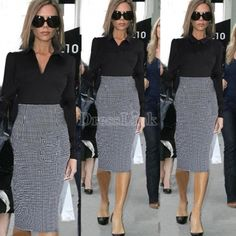 New Women Houndstooth Tunic Career Party Pencil Dress