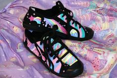 Milky Planet inspired hand painted shoes by lunie-chan