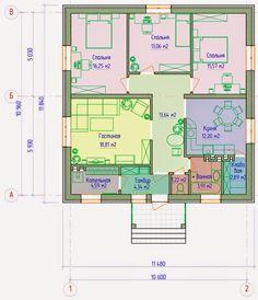 Планировка небольшого дома Modern House Plans, House Floor Plans, Facade House, Building Plans, House In The Woods, Sweet Home, Construction, House Design, Cabin