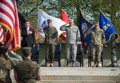 Images of the U.S. European Command (EUCOM) change of command ceremony on Patch Barracks in Stuttgart-Vaihingen, Germany involving Secretary of Defense, Ashton B. Carter, Chairman, Joint Chiefs of Staff, Gen Joseph F. Dunford, Jr.