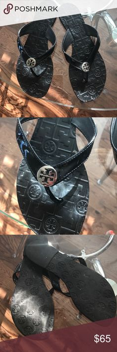 Authentic Tory Burch Thora black sandals Black with silver lol. Preloved condition, tons of life left in these beautiful sandals. Tory Burch Shoes Sandals