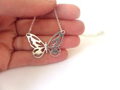 Silver butterfly necklace, butterfly pendant, dainty necklace, gift for her on Etsy, 142.20 ₪