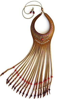 Necklace | Karen Kell.  Suede, wood beads