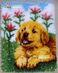 Latch Hook Rug Kit Cushion Pollow Mat DIY Craft Cute Dog 58x40 cm carpet embroidery Cross Stitch Needlework Rug
