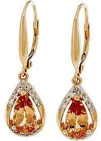 QVC Pear Shaped Imperial Topaz & Diamond Drop Earrings 14K, 1.95 cttw