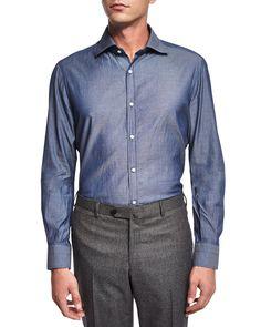 Washed Long-Sleeve Shirt, Blue, Size: 42 - Isaia