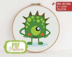 Cross stitch pattern Funny Green Monster, Cross stitch pattern Kids Monster, PDF Format, Instant Download, Home decor, Modern Cross stitch is easy to learn and simple to create so it makes it a very relaxing craft that anyone can do! Just like adult coloring books and paint by number, cross stitch Baby Cross Stitch Patterns, Cross Stitch Baby, Modern Cross Stitch, Cross Stitching, Cross Stitch Embroidery, Embroidery Patterns, Halloween Cross Stitches, Types Of Stitches, Cross Stitch Needles