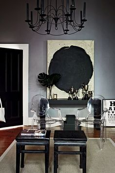 love the black door, white trim and grey wall!! House Beautiful in Melbourne