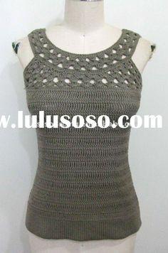 womens spring summer knitwear ladies cotton hand crochet top tank vest sweater BS-708