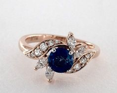 0.99 Carat Blue Sapphire Round Cut Vintage Engagement Ring in 14K Rose Gold- 1742331