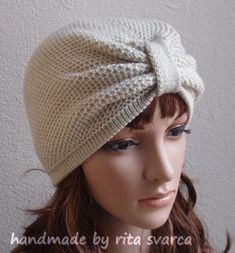 Knit turban hat for women, handmade turban, stylish hat, front knotted turban…
