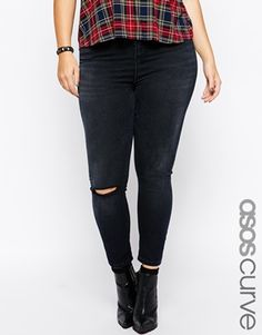 ASOS+CURVE+Exclusive+Ridley+Ankle+Grazer+Jeans+in+Washed+Black+with+1+Rip