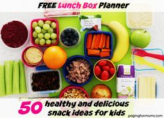 50+ healthy & delicious snack ideas for kids! With a FREE lunch box snack planner. You'll never have to think about what to put in their lunchbox again!