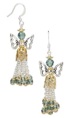 Jewelry Design - Earrings with Antiqued Silver-Plated Pewter Beads, Swarovski Crystal and Brass Bead Caps - Fire Mountain Gems and Beads