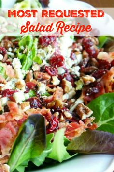 My Most Requested Recipe ~ Gorgonzola, Apple, Cherries, Pecans & Bacon Salad with a Sweet Balsamic Dressing! Most Requested Salad Recipe Clean Eating, Healthy Eating, Bacon Salad, Bacon Dip, Spring Salad, Fall Salad, Summer Salad, Dried Cherries, Cooking Recipes