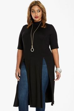 Plus Size Aaron Double Slit Maxi Top   Fashion To Figure