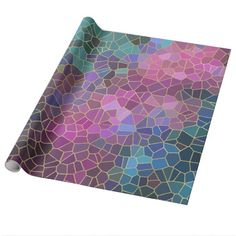 Mosaic Pattern of Pink Purple Teal Blue Green Gold Wrapping Paper