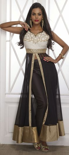 BLACK MAGIC - This style is sure to add the x-factor in your look. Order at INR 8,040 only!  #SalwarKameez #Slit
