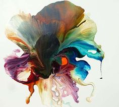An image of an abstract painting of a flower in rich oil colours of pink, purple and green: Jane Emberson