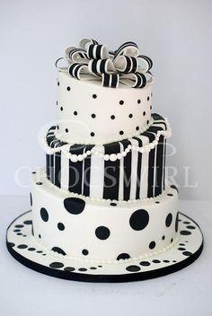 Black & White Topsy Turvey Wedding Cake - Cake by Robyn