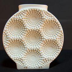 Op Art Matte Bisque Porcelain Round Vase by AK Kaiser West