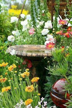 Beautiful birdbath surrounded by flowers.