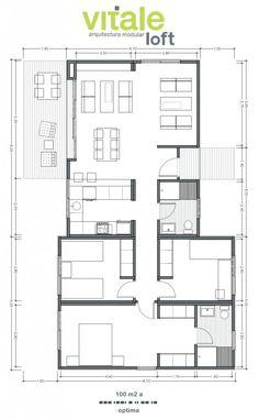 100 M2, House Plans, Floor Plans, Loft, Construction, House Design, Flooring, How To Plan, Architecture