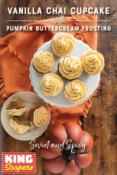 These Vanilla Chai Cupcakes with Pumpkin Buttercream Frosting are the perfect sweet treats in the fall!