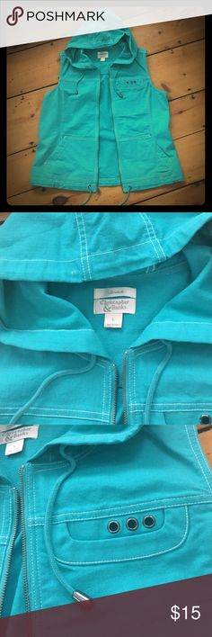 Hooded vest Received as a gift and never worn. Soft teal color- would look sharp with white shirt and jeans. White stitching, solid zipper, cute pull strings at the hood and bottom. Christopher & Banks Jackets & Coats Vests