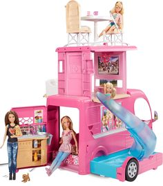 """Barbie Camping Car Duplex - Mattel - Toys""""R""""Us Camping Barbie, Fisher Price, Poupées Our Generation, Barbie Playsets, Barbie Sets, Mattel Barbie, Barbie World, Toys R Us, Doll Accessories"""