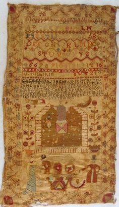 BEST Large 1830 Folk Art Needlework Schoolgirl Sampler