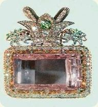 The Darya-I-Noor, 'sea of light' is the world's largest pink diamond, weighing 186 carats. It is table cut with exceptional clarity. The diamond came from India's famous Golconda mine and is part of the crown jewels of Iran.