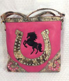 Messenger Bag CROSSBODY Purse Pink Western CAMO Horseshoe Rhinestone Flower Tote